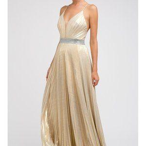 Pleated V-Neck Prom Evening Dress JT226